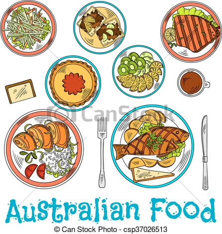 Authentic dishes of australian cuisine sketch.