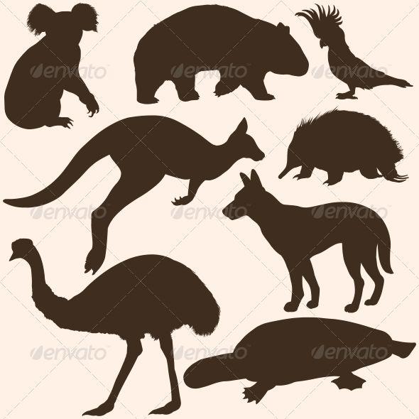 Vector Set of Australian Animals Silhouettes.