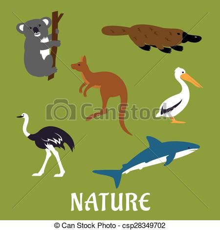 Vector Clipart of Australian animals and birds flat icons.