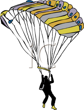 Skydiver Falling with His Parachute.