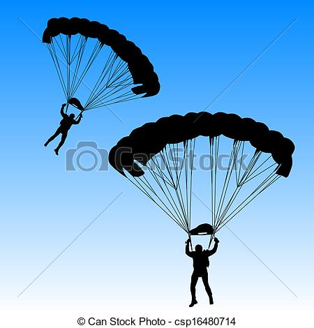 Vector Clip Art of Skydiver, silhouettes parachuting vector.
