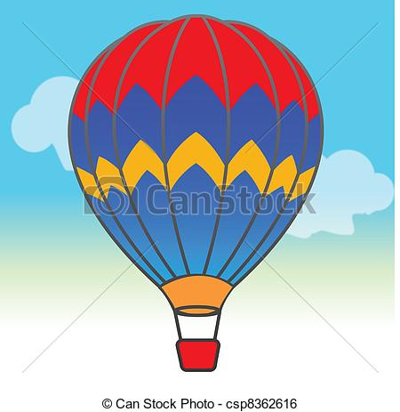 Clip Art Vector of Parachute in the sky csp8362616.