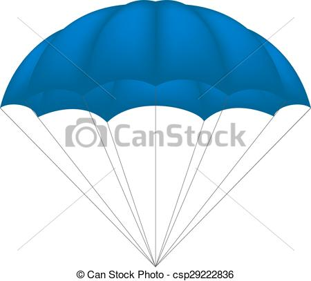 Vectors of Parachute in blue design on white background.
