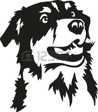 Aussie dog clipart black and white.