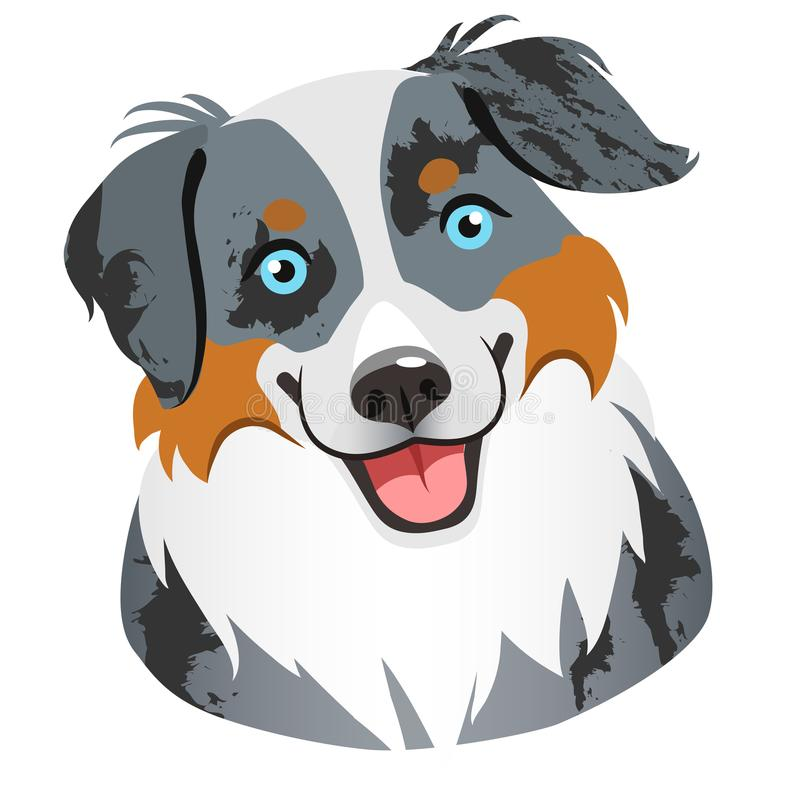 Australian Shepherd Dog Face Portrait Cartoon Illustration.