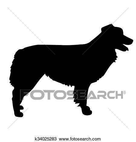 Australian Shepherd Silhouette Clipart.
