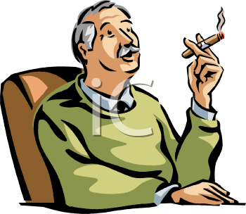Royalty Free Clip Art Image: Man Smoking a Cigar.