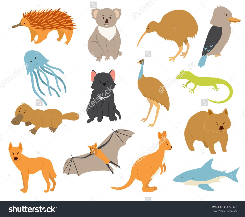 Australian Animals Set Cartoon Characters Endemic Stock Vector.