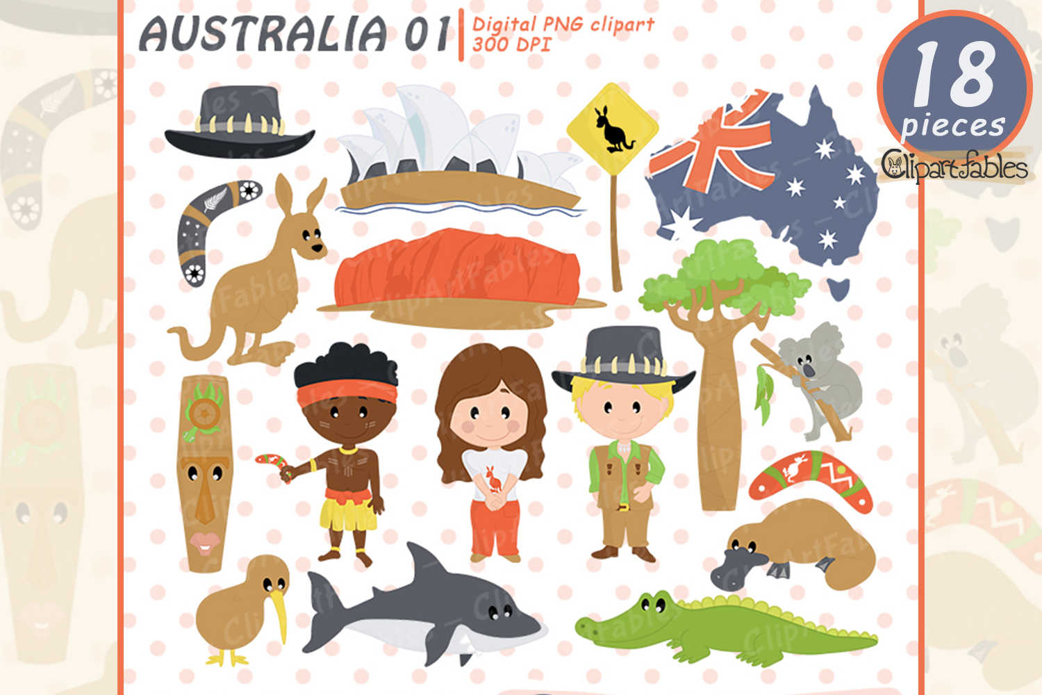 AUSTRALIA clipart, kiwi and koala design aboriginal clip art.