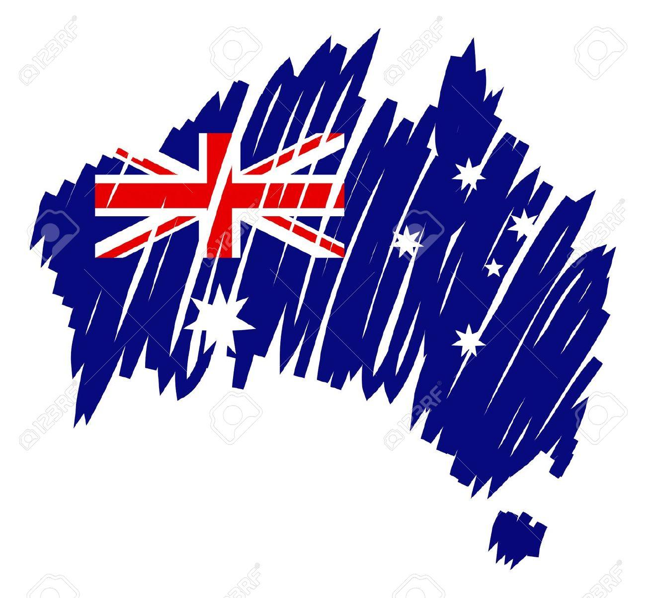 Australia flag map clipart.