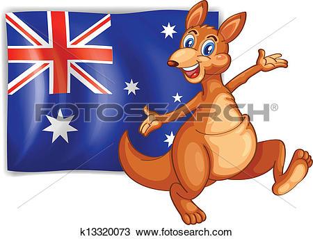 Clipart of A kangaroo presenting the flag of Australia k13320073.