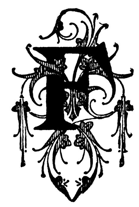F, Floral initial.