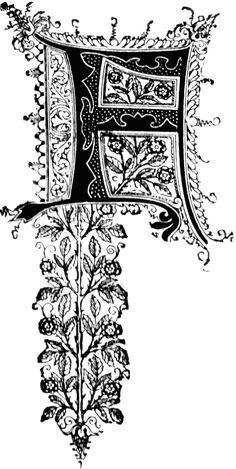 F, Ornate initial.