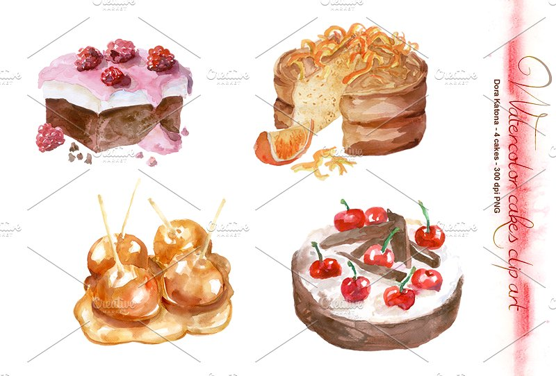 Watercolor Cakes Clip Art ~ Illustrations on Creative Market.