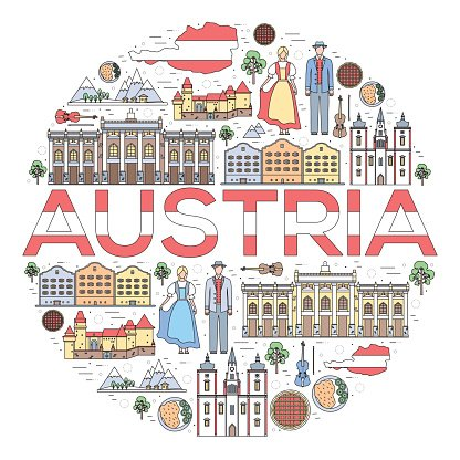 Country Austria Travel Vacation Guide of Goods, Places and Features.