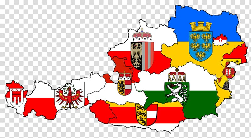Flags and coats of arms of the Austrian states Austria.