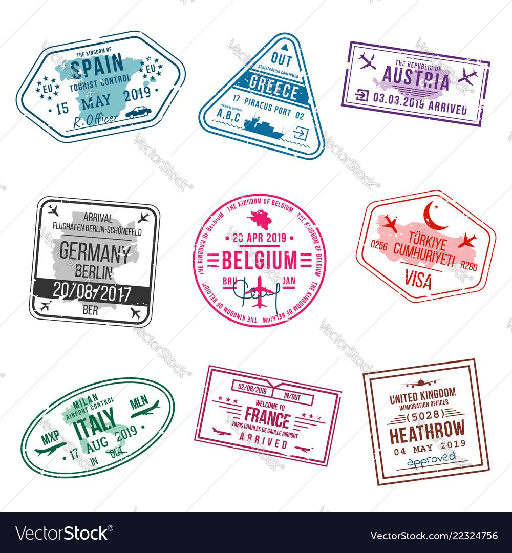 Set of visa stamps for passports international.