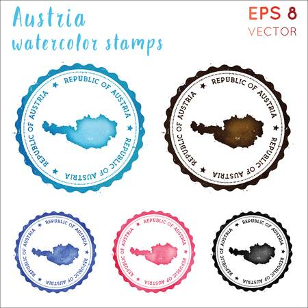 Austria Stamp. Watercolor Country Stamp With Map. Vector.