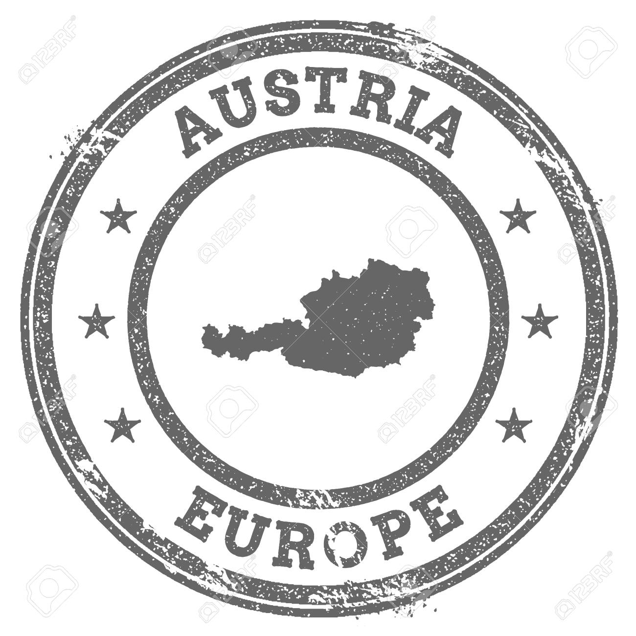Austria grunge rubber stamp map and text. Round textured country...