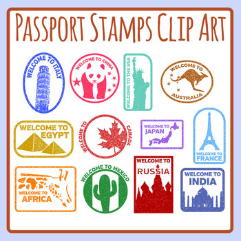 Passport Stamps Clip Art & Worksheets.