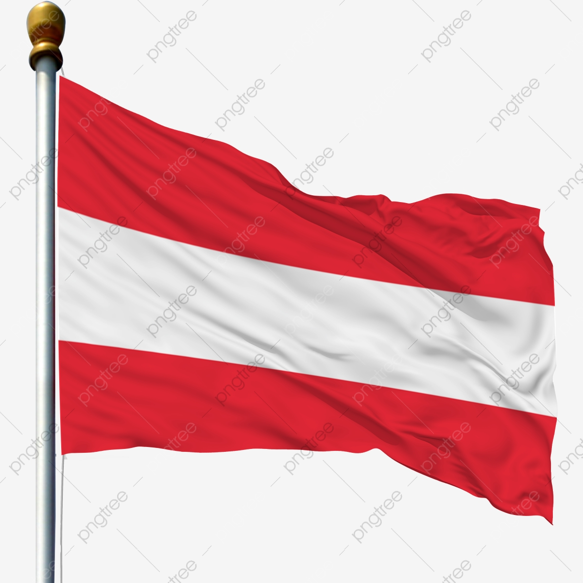 Austria National Flag Waving Flag Flagpole Flag, Flagpole With Flag.