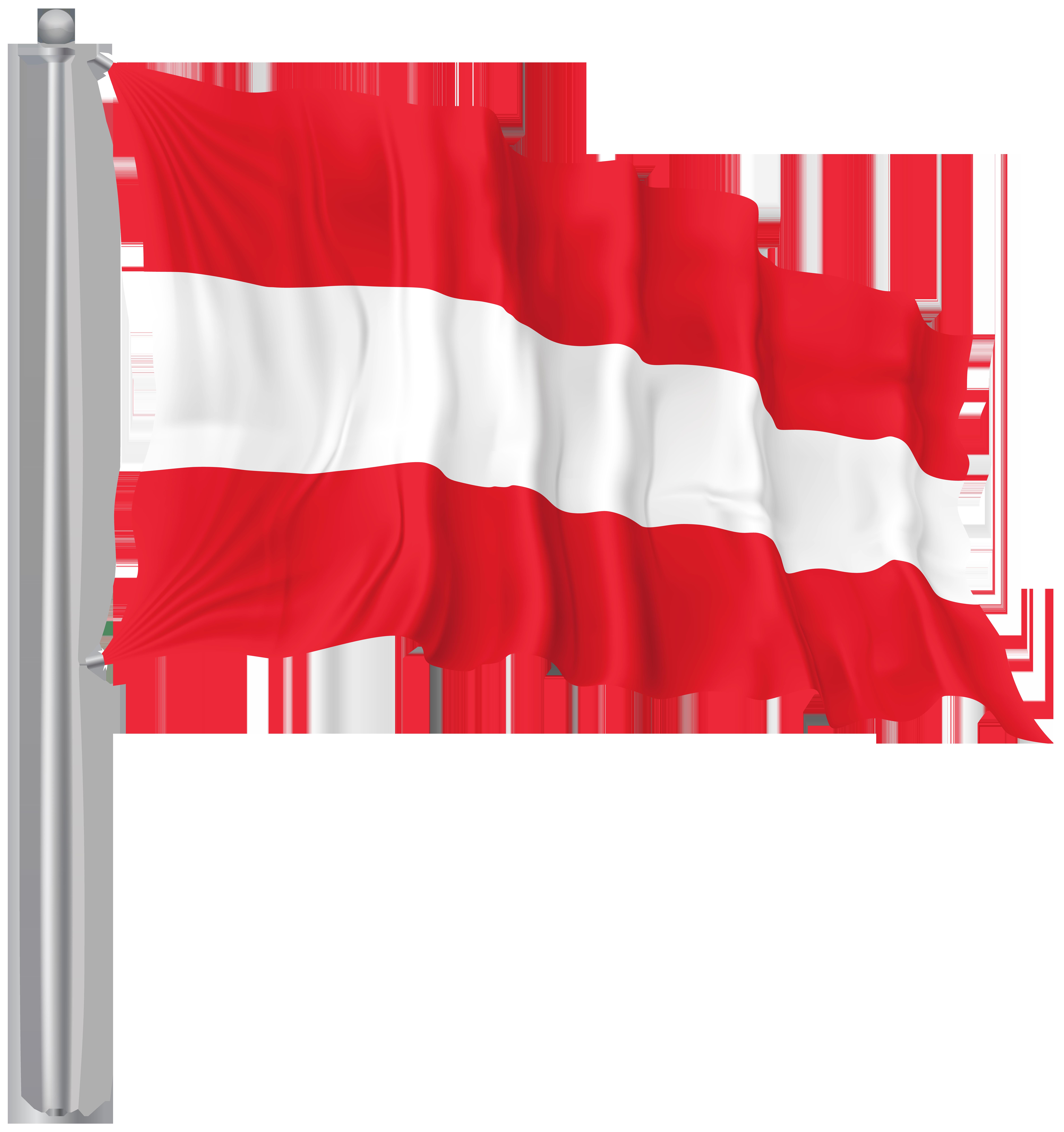 Austria Waving Flag PNG Image.