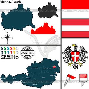 Map of Vienna, Austria.