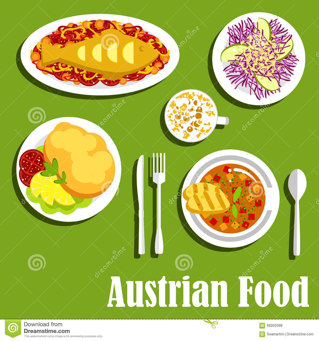 Austrian Cuisine Dishes And Beverages Stock Vector.