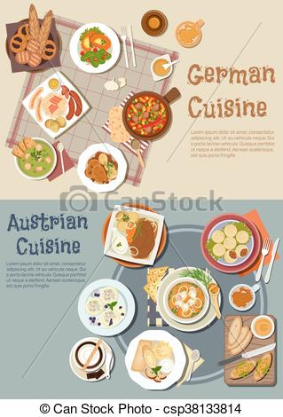 Vector Clip Art of German and austrian hearty and comfort food.
