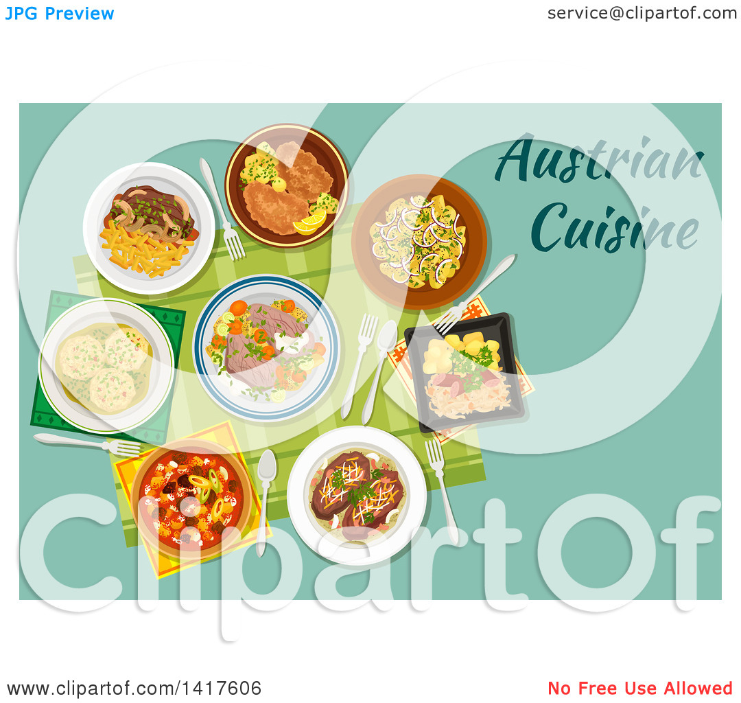 Clipart of a Table with Austrian Cuisine and Text.