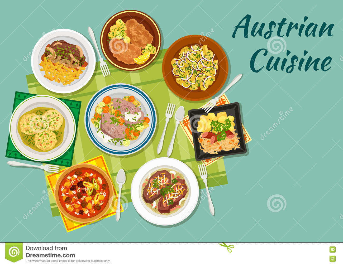 Austrian Cuisine Flat Icon With Meat Dishes Stock Vector.