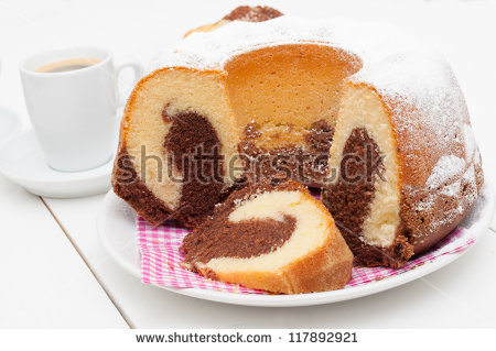 Traditional Homemade Marble Cake Gugelhupf Cup Stock Photo.