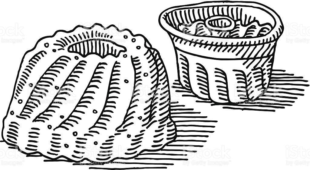 Gugelhupf Cake Baking Pan Drawing stock vector art 454803673.