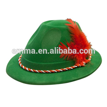Green Color Bavarian Felt Hat With Red White Rope Decoration Adult  Oktoberfest Hat Ht2615.