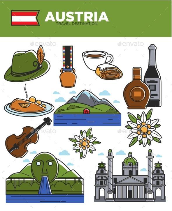 Austria travel destination vector illustration. Hat with.