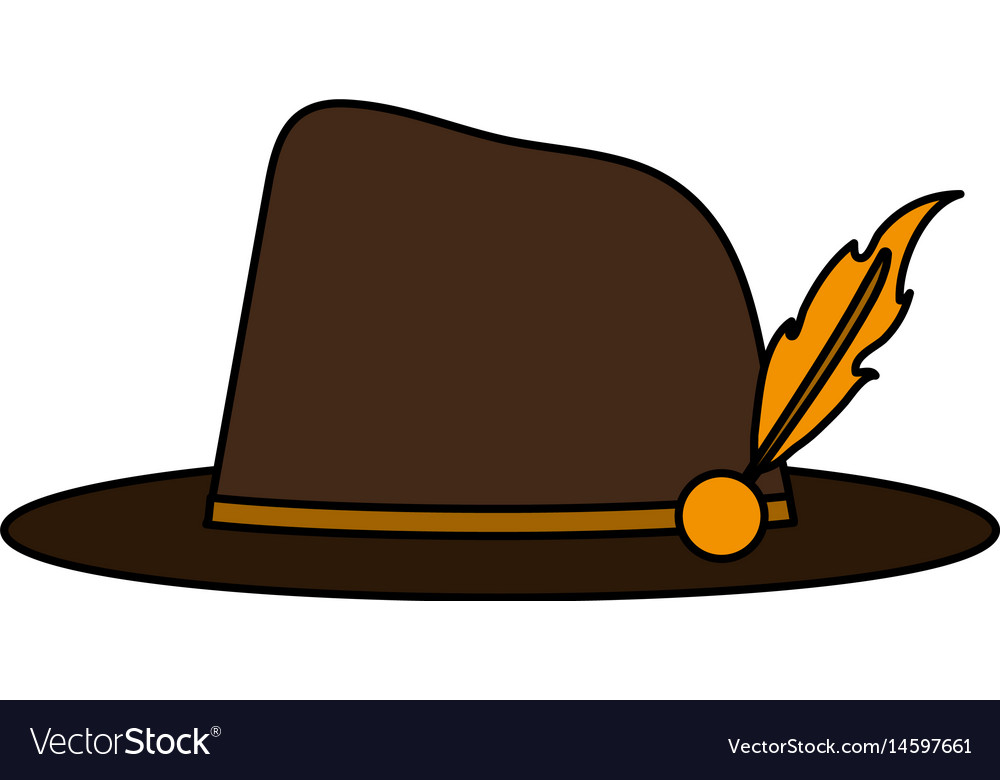 Color image explorer hat with feather vector image.