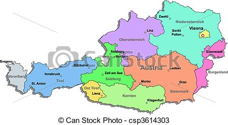 Vectors of Austria map over white csp3614303.