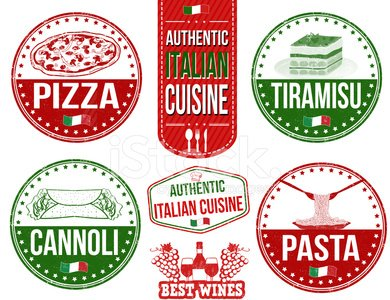 Authentic italian food stamps Clipart Image.