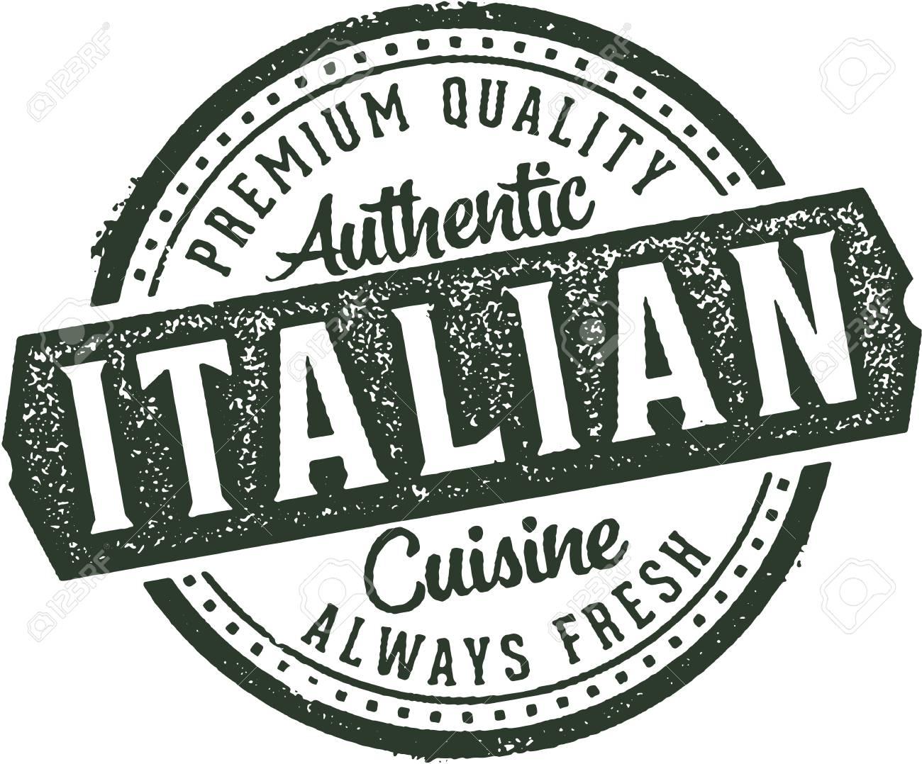 Authentic Italian Cuisine Restaurant Stamp.