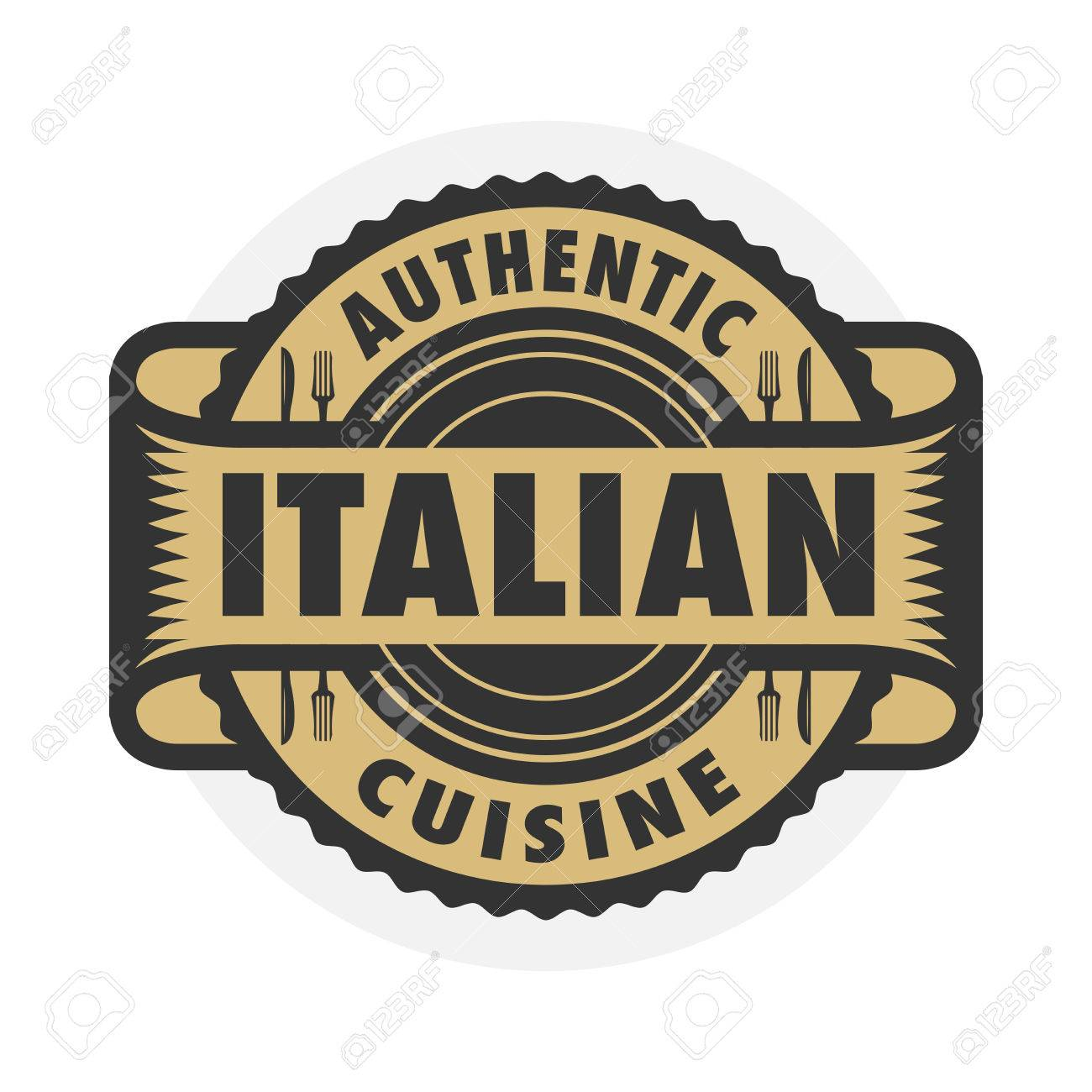Abstract stamp or label with the text Authentic Italian Cuisine...