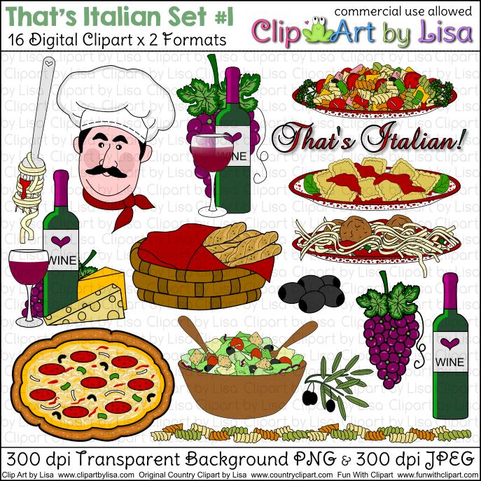 Italian Clip Art Food : Vector of Italian food collection 1.