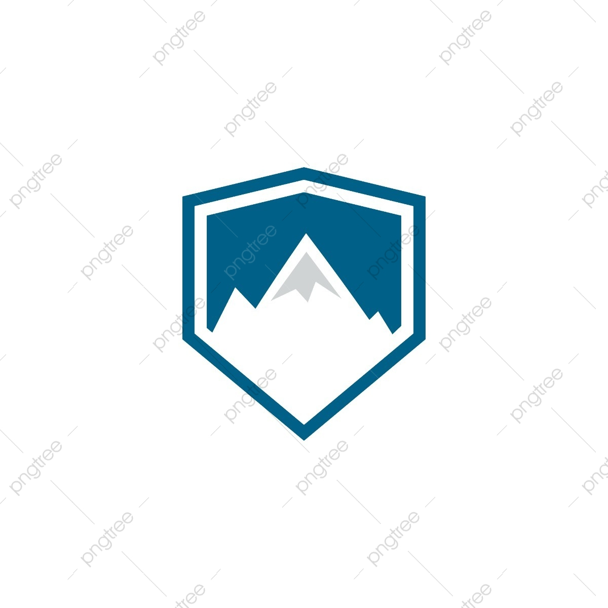 Mountain Logo On A Shield Emblem Graphic Template, Abstract.