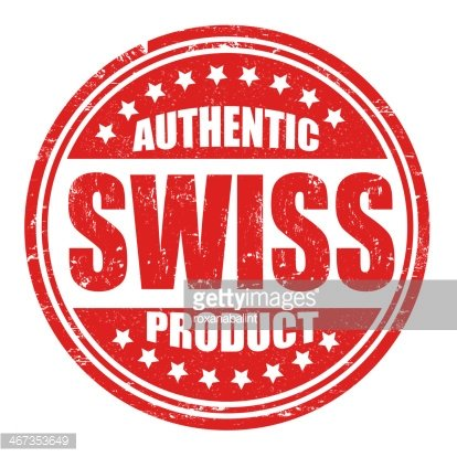 Authentic swiss product stamp Clipart Image.