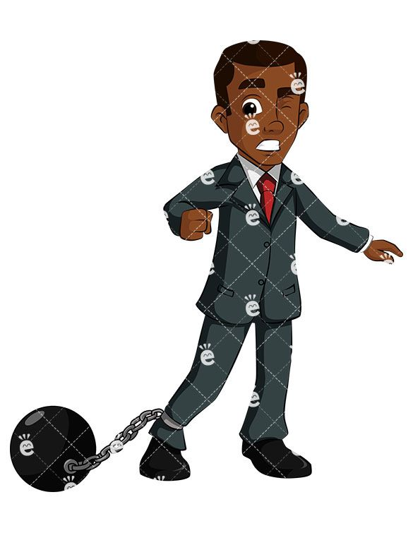 A Discouraged Black Businessman Tied To A Ball And Chain in.