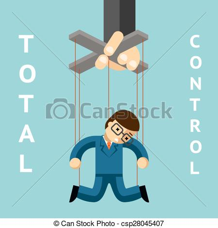 Vector Clipart of Total control. Businessman puppet. String and.