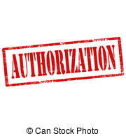 Clipart of Authorization rubber stamp. Grunge design with dust.