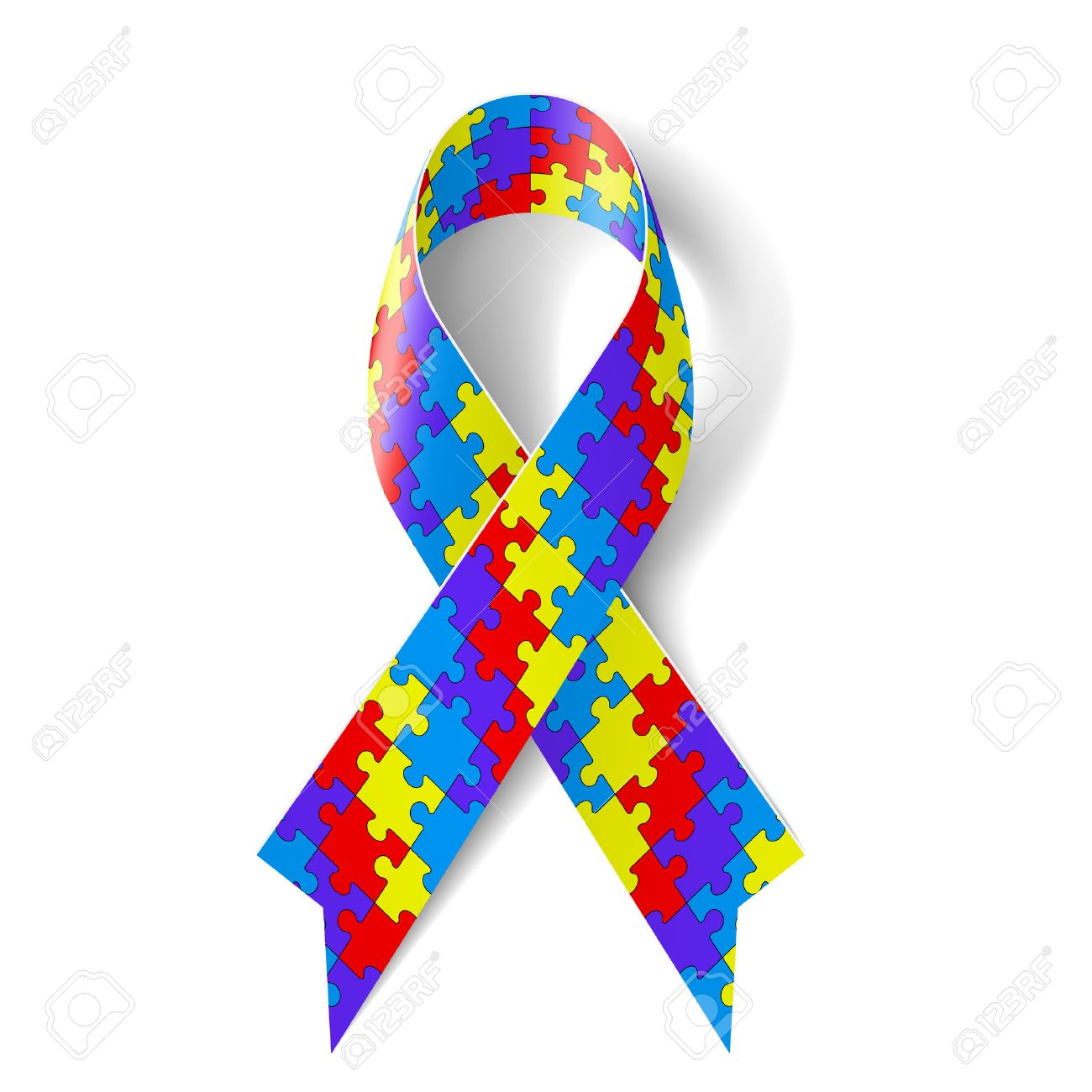 Colorful puzzle ribbon as symbol autism awareness.