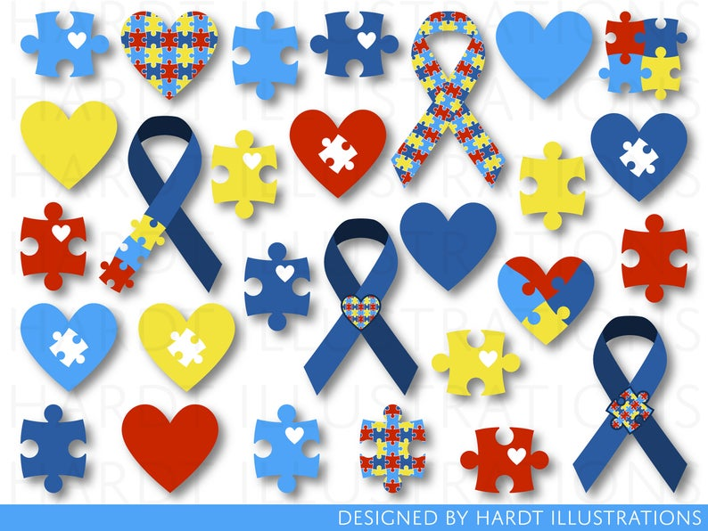 Autism Clipart, Autism Clip Art, Autism Awareness Day, Blue Autism Ribbon,  Digital Autism Heart, Jigsaw Puzzle Pieces, World Autism Month.
