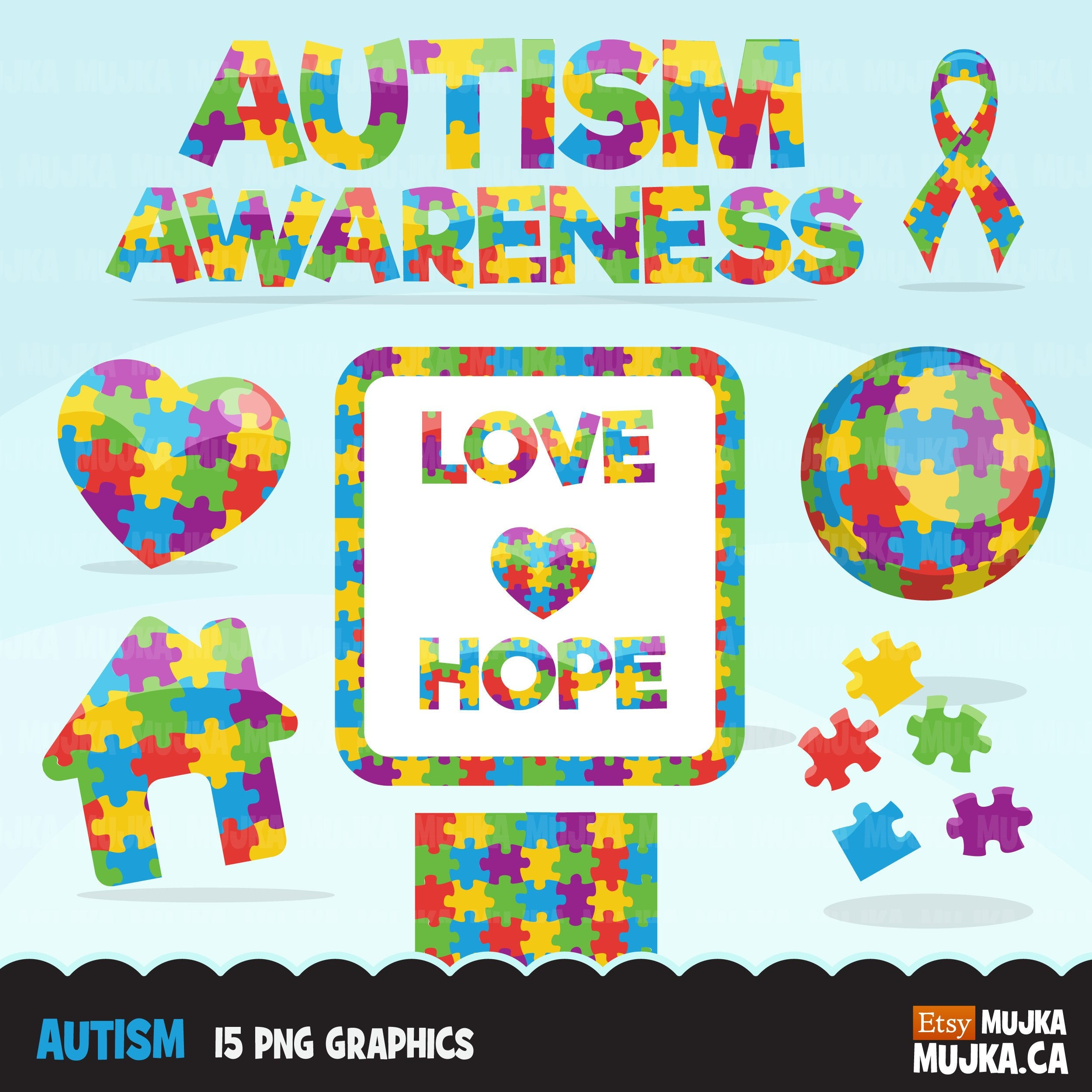 Autism Clipart. Autism awareness graphics, ribbon, heart, home, love, hope  globe and frame. Commercial use clip art, scrapbooking, cookie.