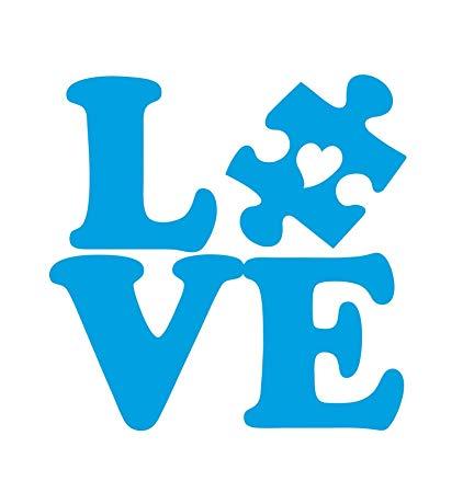 Amazon Com Dixies Decals Autism Love Puzzle Piece With Heart Car.
